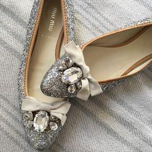 Miu Miu Sparkle Ballet Flats